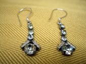 1930's/1940's Diamante Drop Earrings with Baguette and Round Stones (Sold)